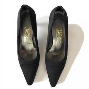 Salvatore Ferragamo heels black satin pumps